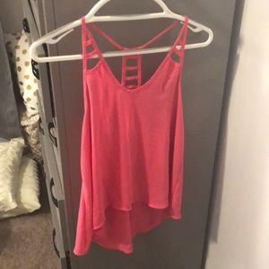 Hot pink cut out tank